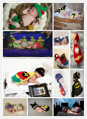 Baby cartoon costumes for babies crochet newborns super hero photography clothes