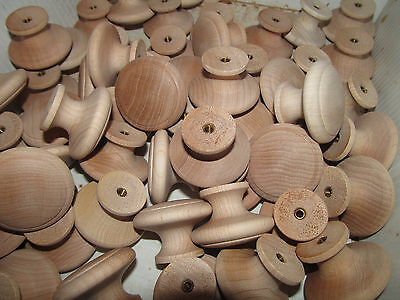 25 Factory New Maple Unfinished Wood Cabinet Knobs / Pulls Flat Round K