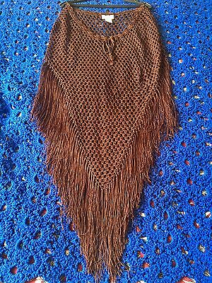 Charlotte Russe, Women's Brown Rayon Triangular Poncho with Fringe