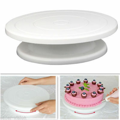 28cm Kitchen Cake Decorating Icing Rotating Turntable Cake Stand White Plastic v