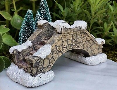 Miniature Dollhouse FAIRY GARDEN Glitter SNOW Stone Look Resin CHRISTMAS Bridge