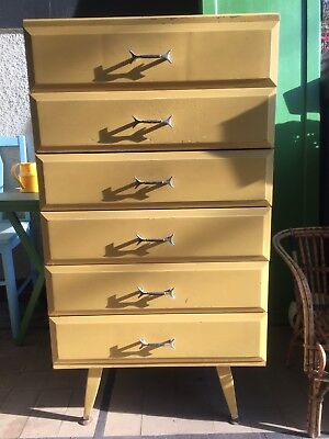 Vintage modern chest of drawers yellow