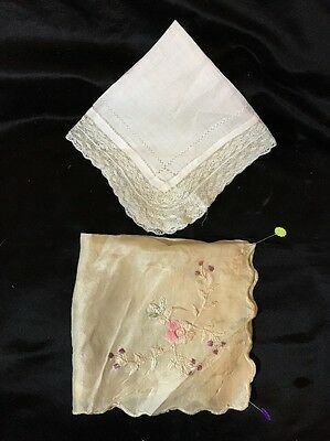 """LOT, 2 Ant HANKIES, Fine Embroidery! Lace! Both LOVELY! 10.5 x 11"""", 10 x 10.5""""!"""