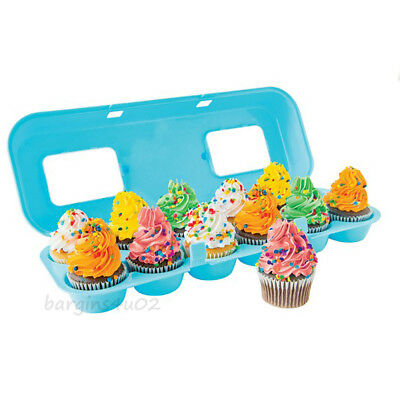 12 Cupcake Carrier Bakelicious Muffin Holder Container Storage Tray Blue New