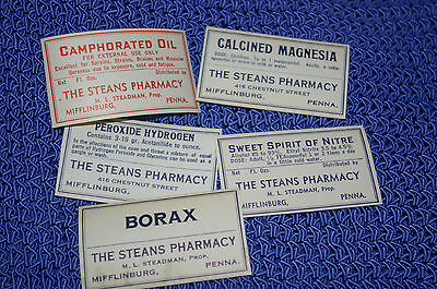 Vintage Drug Store Medicine Bottle Labels Steans Pharmacy Mifflinburg PA. Borax