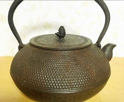 Japanese Antique KANJI old Iron Tea Kettle Tetsubin teapot Chagama 2031