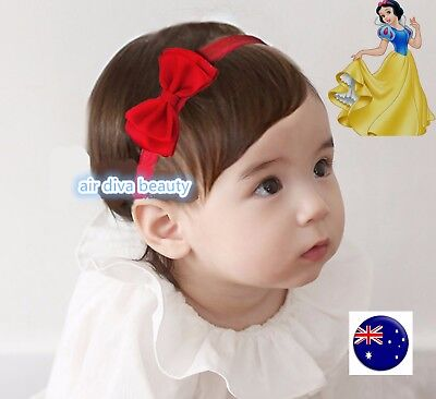 Baby Girls School Red Lace Satin Bow Snow white Party Xmas Hair band Headband