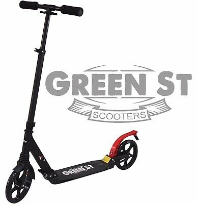 Green St Adult commuter Push Kick Suspension Scooter. Folding Large 200mm wheels