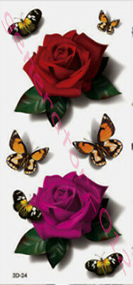 Tatouage Temporaire Tattoo Temporary Rose Fleur Papillon (new)