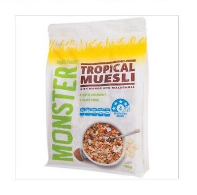 3 x NEW!! MONSTER HEALTH FOOD CO Tropical Muesli 700g Total 2.1kg