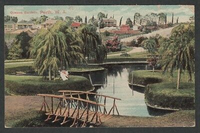 e480)   EARLY WESTERN AUSTRALIA POSTCARD:  QUEENS GARDENS, PERTH