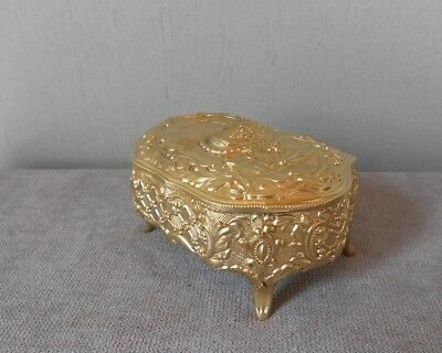 Vintage  FRENCH Gilded metal JEWELRY Casket BOX
