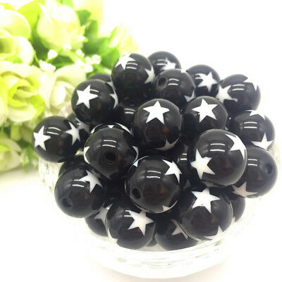 10Pcs stars Acrylic Round Pearl Spacer Loose Beads Jewelry Making Black
