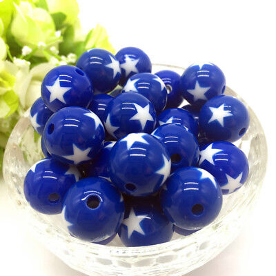 10Pcs stars Acrylic Round Pearl Spacer Loose Beads Jewelry Making Blue