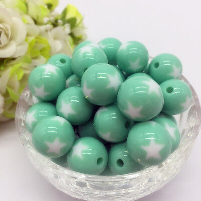 10Pcs stars Acrylic Round Pearl Spacer Loose Beads Jewelry Making Cyan