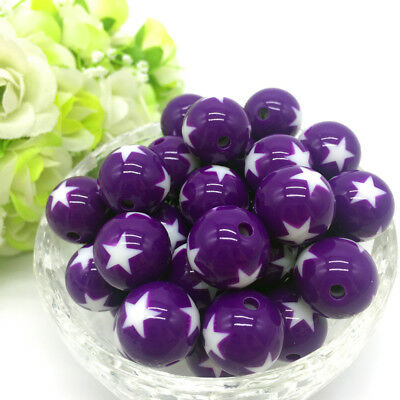 10Pcs stars Acrylic Round Pearl Spacer Loose Beads Jewelry Making Purple
