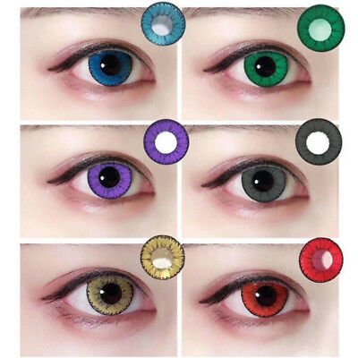 Women Coloured Lenses Crazy Color Contacts Big Circle Eyes Makeup Beauty Lens