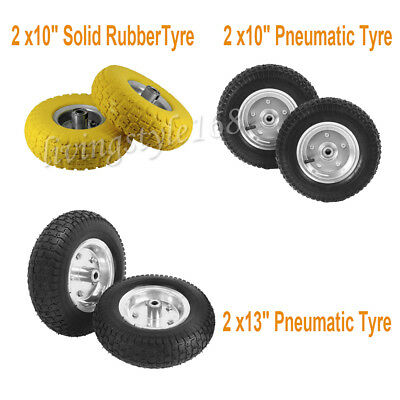 """2x10"""" /13""""Solid Rubber Tyre/Pneumatic Sack Truck Trolley Wheel Barrow Tyre Tyres"""