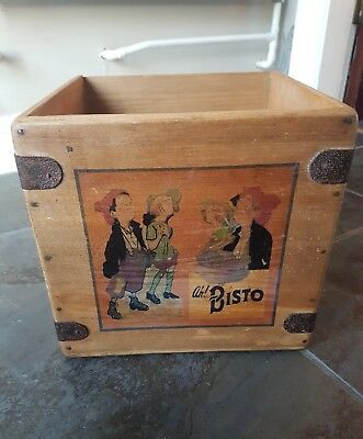 vintage Bisto wooden box crate trug. waxed high quality finish retro