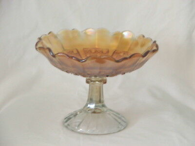 Vintage Collectable Carnival Glass Comport Dish ~ Marigold Depression Glass