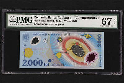 "1999 Romania Banca Nationala  ""Commemorative"" 2000 Lei Pick#111a PMG 67 EPQ UNC"