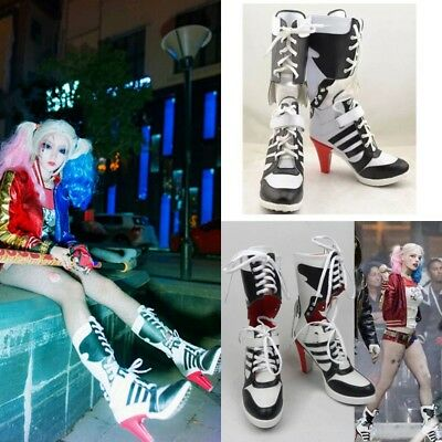 2017 DC Batman Suicide Squad Shoes Harley Quinn Highheels Boots  Cosplay Costume