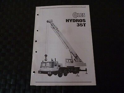 Coles Hydros 35T Crane Tech Spec 8021/4/75 Leaflet/pamphlet *as Pictures*