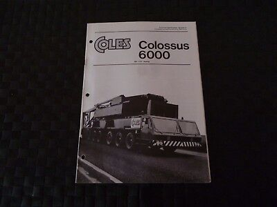 Coles Colossus 6000 Bs 1757 Tech Spec 8070/9/75 Brochure/booklet *as Pictures*