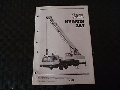 Coles Hydros 35T Crane Tech Spec 8122/3/76 Leaflet/pamphlet *as Pictures*