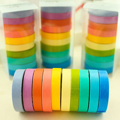 10PCS Washi Rainbow Sticky Tape Masking Adhesive Paper Scrapbook Decorative DIY