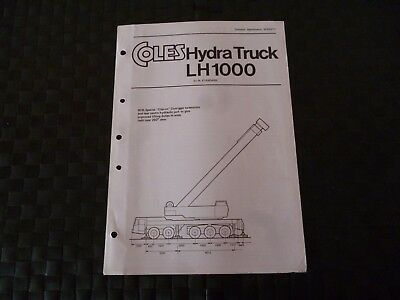 Coles Hydra Truck Lh 1000 Din Standard Tech Spec 8233/5/77 Leaflet *as Pictures*
