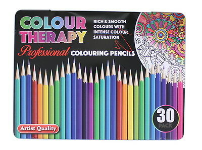 Colour Therapy 30 Pack Professional Artist Quality Colouring Pencils In Tin Case