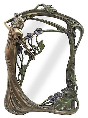 Veronese Bronze Figurine Art Nouveau Lady Standing Table Mirror Gift Home Decor
