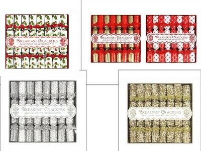8 Pack Mini Luxury Breakfast Afternoon Tea Saucer Christmas Crackers Gold Silver