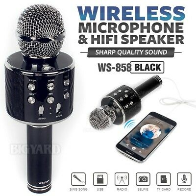 WSTER WS858 Black Handheld KTV Karaoke Mic Wireless Microphone Bluetooth Speaker