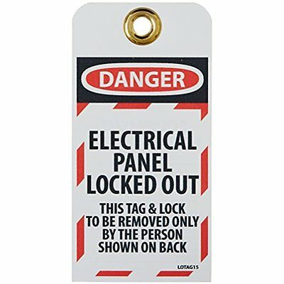 "Tags LOTAG15 ""DANGER ELECTRICAL PANEL LOCKED-OUT"" Lockout Tag, Unrippable Vinyl,"