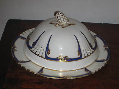 English Regency Period Dish & Cover Blue & Gilt Decoration Acorn Finial