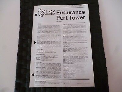 Coles Endurance Port Tower Crane Technical Spec 7706/3/72 Leaflet *as Pictures*