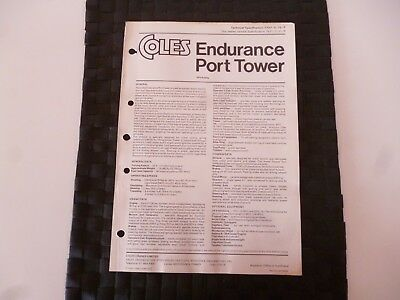 Coles Endurance Port Tower Crane Technical Spec 7707/3/72 Leaflet *as Pictures*