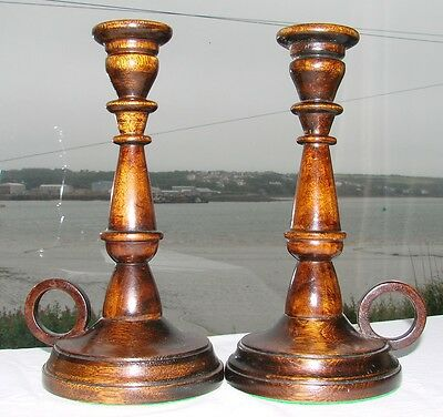 2 Wooden Oak? Candlesticks