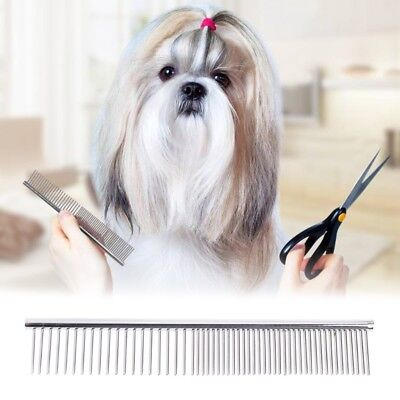 Pet Dog Cat Stainless Steel Shedding Comb Grooming with Round Teeth Wide Trimmer