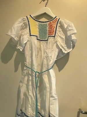 Girls Country Road White Dress With Blue Red And Yellow Size 6