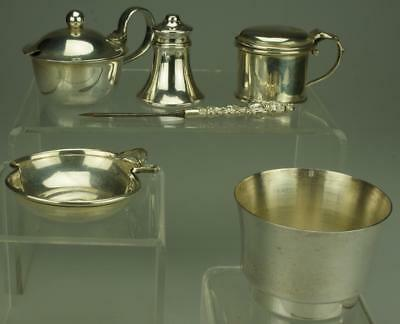 Lot of 6 Miscellaneous Sterling Silver and EPNS Salt or Mustard Pots SC61