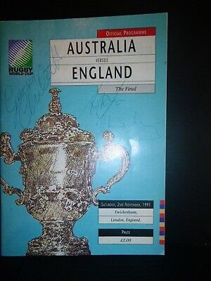 Signed Rugby World Cup Final Programme 1991  England v Australia