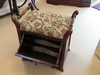 Attractive Antique Renovated/Upholstered Walnut Piano Stool (Storage Cupboard)