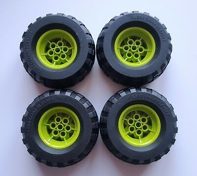 4 Lego Technic - Balloon Tire - Wide Ø 81.6 x 38  Lime Wheel Rim Ø43.2mm x 26mm