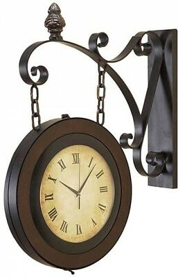 Large Handcrafted Hanging Double Face Clock wrought Iron Antique Look Round Wall