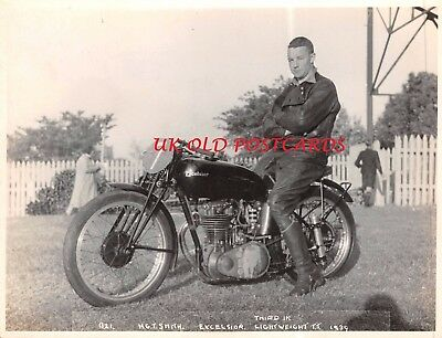 Vintage Photograph - Isle of Man TT Motorcyclist - H.G.T. SMITH, Excelsior Bike