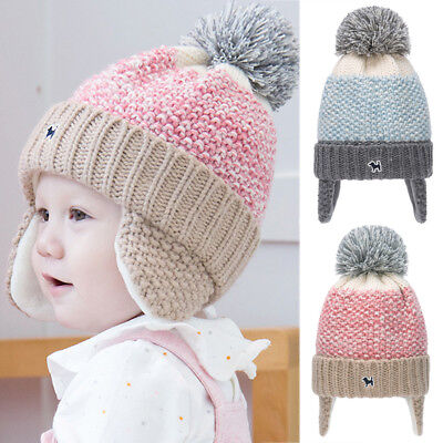 Fashion Winter Baby Beanie Pom Hat Cap Warm Cute Kids Boys Girls Toddler Knitted