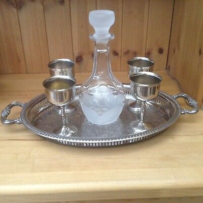 Vintage Silver Plated Goblets, Tray & Glass Decanter